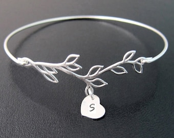 Bridesmaid Gift Bracelet Personalized Jewelry for Women Heart Charm Bracelet up to 9 Initials Monogram Bracelet Bangle Monogram Charm Bangle