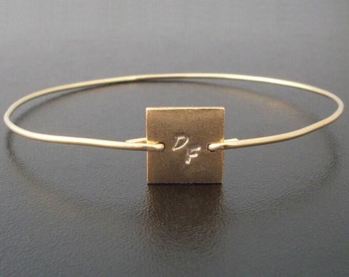 Initial Charm Bracelet Square Bracelet Square Bangle Bracelet Geometric Jewelry Letter Bangle Letter Bracelet Gold Plated Bangle Bracelet
