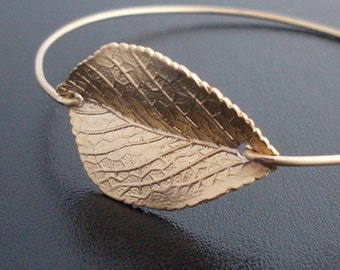 Leaf Bracelet Gold Plated Leaf Charm Leaf Jewelry Nature Jewelry for Women Fall Wedding Jewelry Fall Bridesmaid Gift Leaf Bangle Bracelet