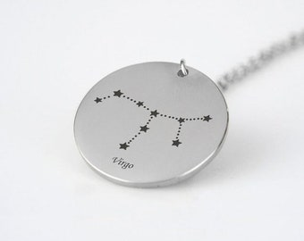 Virgo Constellation Necklace Silver Tone Virgo Pendant Necklace Virgo Gift Virgo Astrology Necklace Celestial Necklace Star Sign Necklace