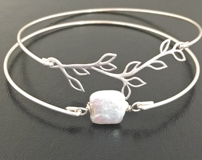 Bridesmaid Bracelet Set, Branch & Cultured Freshwater Pearl Bridesmaid Set Pearl Jewelry Wedding Pearl Bracelet Set Pearl Bridesmaid Jewelry