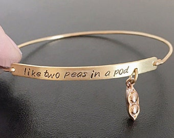 Two Peas in a Pod Jewelry, Best Friend Gift, Two Peas in a Pod Bracelet, Going Away Gift, Birthday Present for Best Friend, Birthday Gift