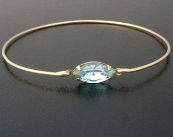 Blue Rhinestone Bracelet Simulated Aquamarine March Bracelet March Jewelry Blue Bracelet Blue Bridesmaid Jewelry Blue Jewelry Gift for Women