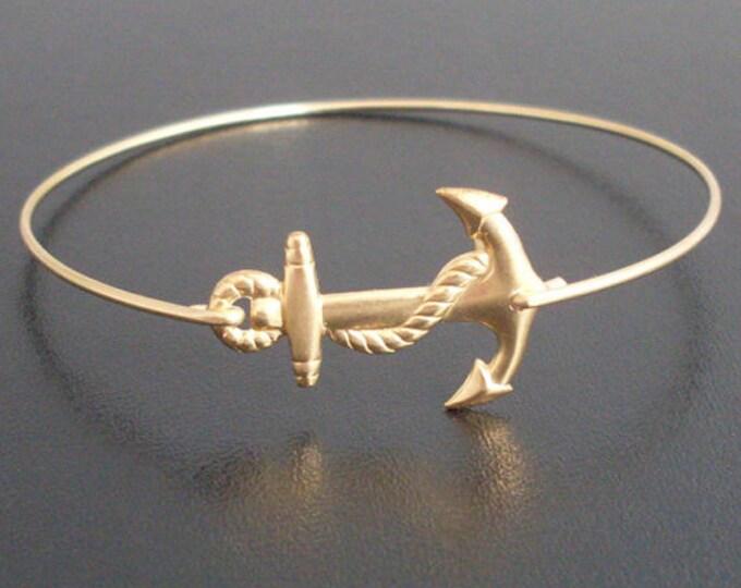 Anchor Bracelet Gold Tone Anchor Bangle Bracelet for Women Summer Bracelet Sailor Gift Sailor Jewelry Sailor Bracelet Ocean Themed Jewelry