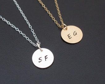 Initial Monogram Necklace, Gold Monogram Necklace, or Sterling Silver Monogram Necklace, Tiny Initial Necklace, Monogram Initial Necklace