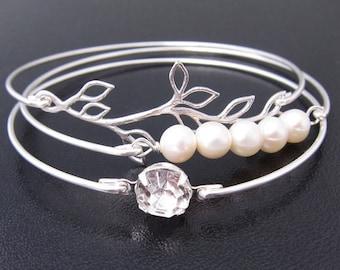 Bridal Bracelet Set Cultured Freshwater Pearl and Crystal Rhinestone Wedding Jewelry Silver Branch Dainty Bracelet Set Delicate Bracelet Set