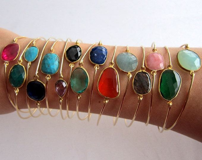 Gemstone Jewelry Customize a Gemstone Bracelet Stack for Women 14k Gold Filled Gemstone Bangle Bracelets for Women Gemstone Stack Bracelets