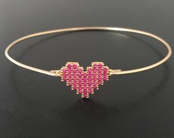 Pink Heart Charm Bracelet, Gold Filled Heart Bracelet, Heart Bangle with light red crystals bracelet , Mother's Day Gift for her