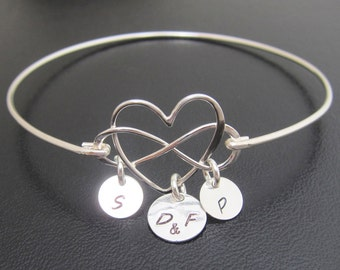Infinity Heart Bracelet Sterling Silver Mom Bracelet with Kids Initials Mother Bracelet Heart Infinity Wife Birthday Gift Mother Day Jewelry