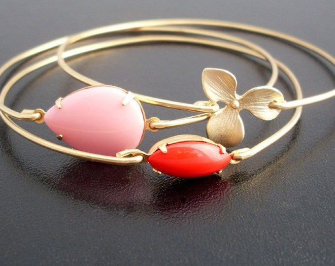 Summer Bouquet Bangle Set Orchid Bracelet Pink Flower Bracelet Set Red Flower Jewelry Summer Jewelry Women Bracelet Stack Set of 3 Bracelets