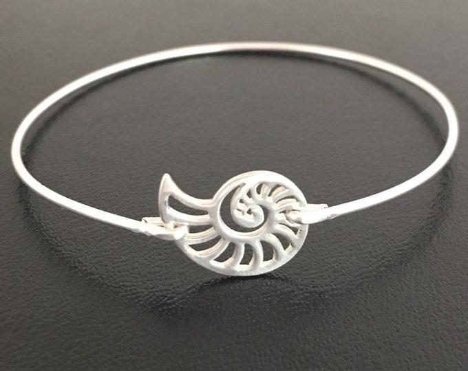 Nautilus Shell Bracelet Sterling Silver Shell Bangle Shell Jewelry Ammonite Jewelry Ammonite Bracelet Seashell Jewelry Seashell Bracelet