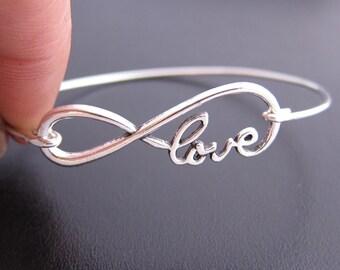 Infinity Love Bracelet Bangle, Endless Knot Bracelet, Infinity Jewelry, Birthday Gift for Wife, Fiance, Birthday Gift Idea, Endless Love