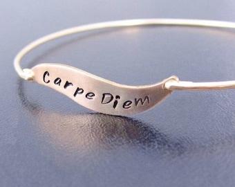 Handstamped Bracelet, Handstamped Jewelry, Custom Word Bracelet, Word Jewelry, Carpe Diem Bracelet, Carpe Diem Jewelry