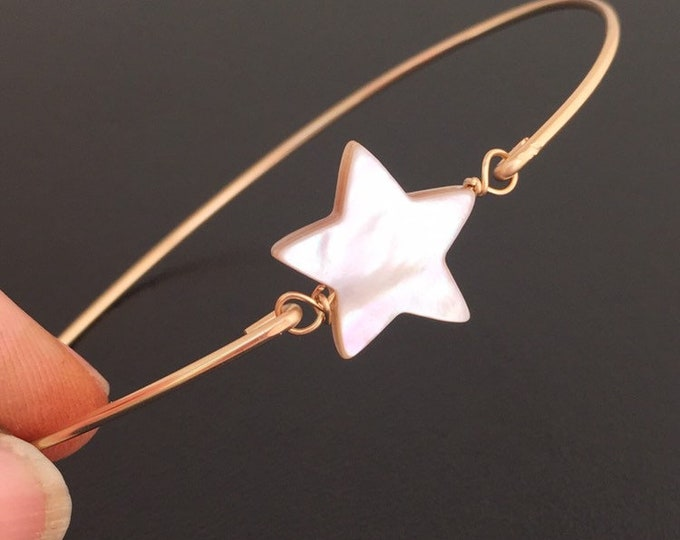 Mother of Pearl Bracelet Bright Star Bracelet for Women Star Jewelry Mother of Pearl Bangle Bracelet Star Bangle Star Charm Bracelet