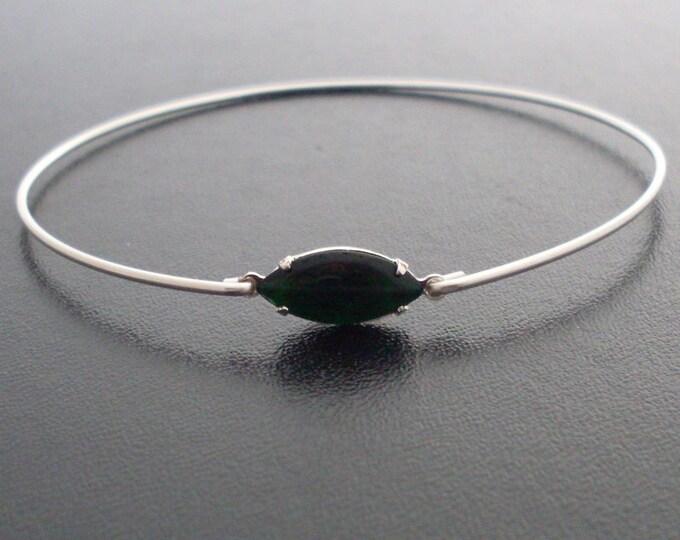 Bangle Bracelet Klara - Silver, Dark Green Stone