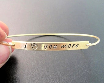 I Love You More Bracelet for Women, I Love You More Jewelry, I Love You Gift for Wife Gift Idea, Custom Jewelry, Birthday Gift for Her