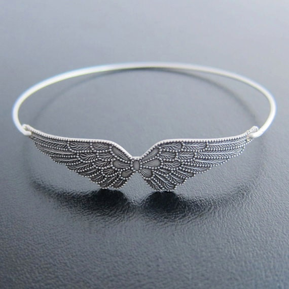 Angel Wing Bracelet Wing Bangle Silver Bracelet Bangle  e0175d080