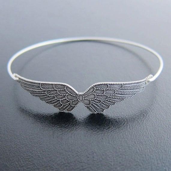 Angel Wing Bracelet Wing Bangle Silver Bracelet Bangle | Etsy