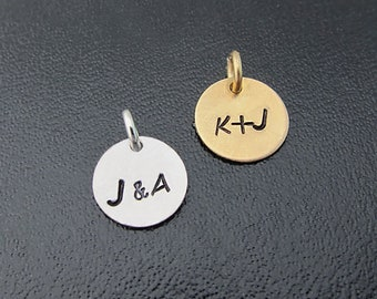 Add a customized initial charm to your bangle order - Sterling Silver or 14k Gold Filled, Personalized Initial Charm, Monogram Initial Charm