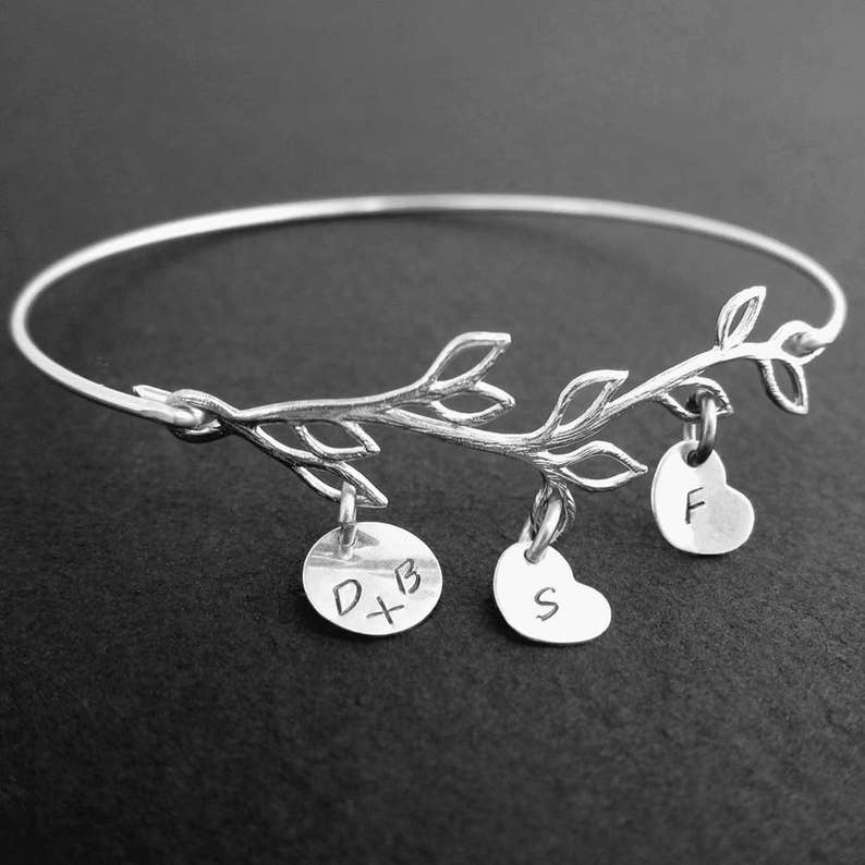 Family Tree Bracelet with Initial Charms Personalized Gift for image 0