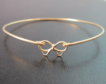 Gold Bow Bracelet, Bow Bangle Bracelet, Bridesmaid Jewelry, Tie the Knot Bridesmaid Gift, Bow Jewelry, Delicate Bracelet, Delicate Jewelry