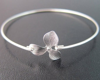 Orchid Bracelet, Orchid Bangle, Delicate Bracelet, Delicate Jewelry, Delicate Silver Bracelet, Bridal, Bridesmaid Gift, Orchid Jewelry