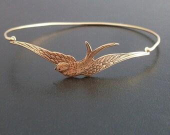 Gold Sparrow Bracelet, Spring Bracelet, Spring Bangle Bracelet, Spring Jewelry, Spring Fashion, Gold Bird Bracelet Bangle, Sparrow Jewelry