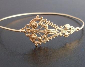 Filigree Bracelet Gold Tone Filigree Jewelry Boho Jewelry for Women Bohemian Bracelet Bohemian Jewelry Gold Tone Boho Bangle Filigree Bangle