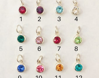 Add a Crystal Simulated Birthstone Charm in Sterling Silver to a Bangle Bracelet or Necklace You Order from My Shop