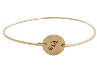 14k Gold Filled Initial Bracelet Gold Filled Bangle Bracelet Womens Hand Stamped Engraved Bracelet Personalize with Cursive or Fancy Initial