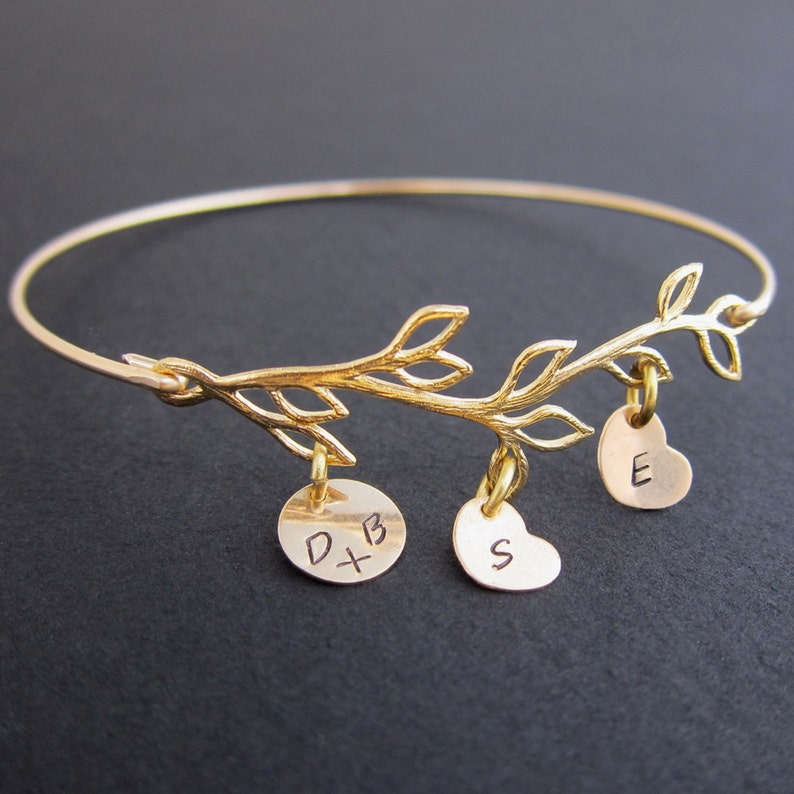 Family Tree Branch Mom Bracelet Personalized Family Gift Idea image 0