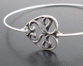 Heart Bangle Bracelet Heart Bracelet for Women Silver Tone Valentine Jewelry Bracelet Art Nouveau Jewelry Valentines Jewelry for Daughter