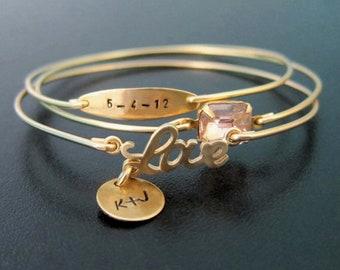 Personalized Wedding Jewelry for Bride Bridal Shower Gift Wedding Date Bracelet Wife Personalized Anniversary Gift for Her Wedding Date Gift