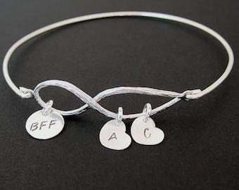 BFF Bracelet Custom Charm Bracelet BFF Galentines Day Gift Birthday Gift Best Friend Gift Long Distance Friendship Bracelet BFF Gift Idea