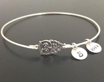 Mini Wise Owl Graduation Charm Bracelet 2020 Personalize High School Graduation Gift for Her Daughter Best Friend Sister Graduation Bracelet