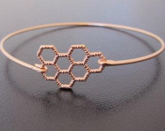 Honeycomb Bracelet, Rose Gold, Honeycomb Jewelry, Geometric Jewelry, Geometric Bracelet, Math Jewelry, Math Bracelet, Honeycomb Bangle