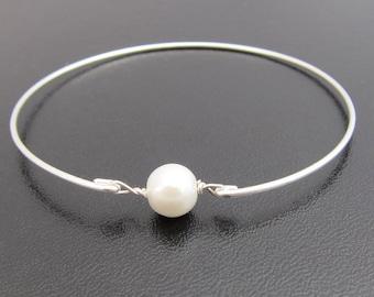 Cultured Freshwater Single Pearl Bracelet Dainty Pearl Bangle Simple Bracelet for Women Bangle Simple Bridal Bracelet Bridesmaid Bracelet