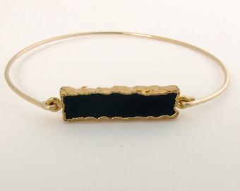 Black Onyx Bracelet for Women Black Onyx Bangle 14k Gold Fill Black Onyx Jewelry Black Gemstone Bracelet Stone Jewelry Black Stone Bracelet