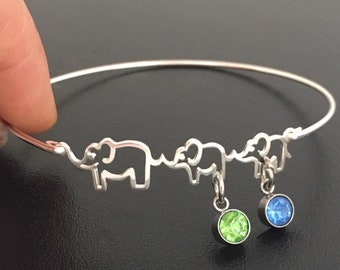 Mom 2 Baby Elephants Bracelet Personalized Jewelry Her Birthday Gift Idea Mom of 2 Kids Sons Daughters Boys Girls 2nd Second Pregnancy Gift