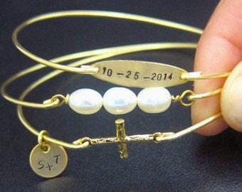 Religious Wedding Gift Religious Wedding Jewelry Wedding Bracelet Set Religious Gift for Bride Religious Jewelry Gold Religious Bracelets