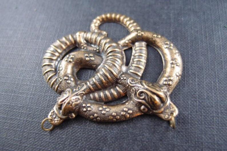--14a 1 pc largle VICTORIAN twisted snake brass pendant