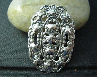 1 PC Filigree Oval Oxidized stering silver Brass--30