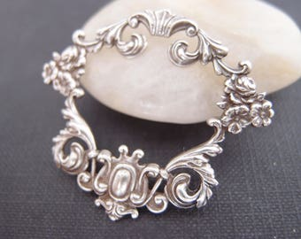 1 pc Elegant Rococo Floral Framework Oxidized stering silver Brass