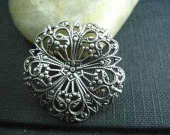 1 PC ox sterling silver plated brass Flower Dapped Round Filigree