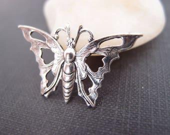 1 pc Art Deco Style Pierced Butterfly Oxidized Silver 35mm