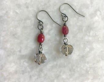 Betty earrings - Ruby, quartz, oxidized sterling silver