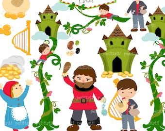 ON SALE Jack And Beanstalk Digital Clipart Children Story Fairytail Giant Printable