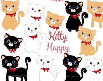 ON SALE Cat Clip Art -Black Cat Clip Art, White Cat Clip Art, Cute Cats Clipart,Kitty Cat,Kittens Clip Art,kitten,scrapbooking,printable