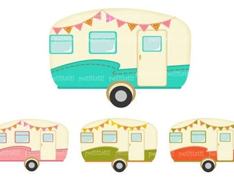 ON SALE Vintage Caravan Clip Art Car Retro Caravans Campervan Artvintage Camper Clipart Instant Download