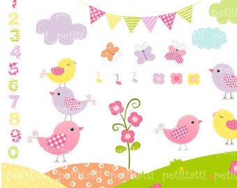 ON SALE birds clip art - 1 to10 number clip art, bunting clip art, Birds and Number, Kids birthday clip art, instant download Digital